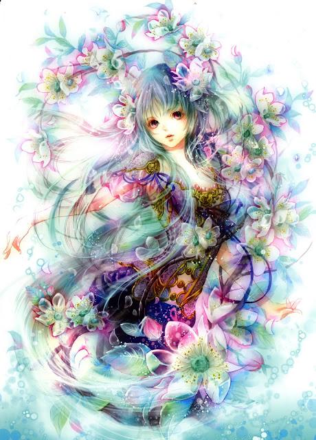 anime girl,anime flowers,Tukiji Nao