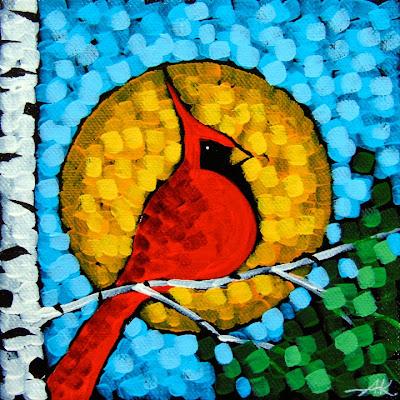 Aaron Kloss, Spring Cardinal, Landscape Painting, Minnesota, Birch Tree, Pointillism