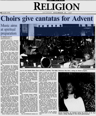 Climbing My Family Tree: Barbara quoted in Toledo Blade article on Cantatas in 1997