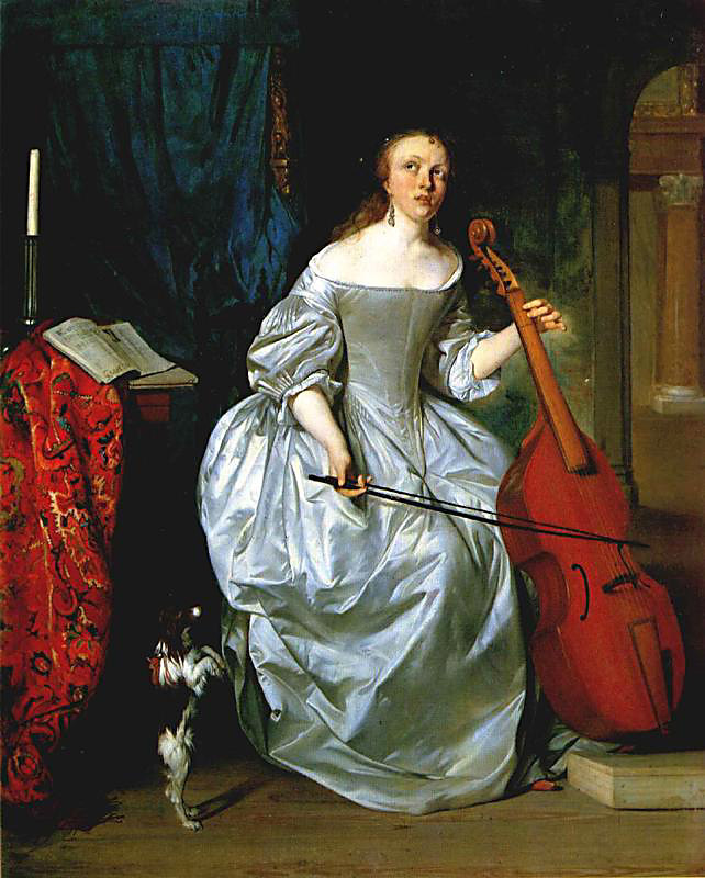 Gabriël Metsu, Mujer tocando la viola de gamba (1663)