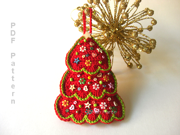 Crochet Patterns Xmas Tree Decorations : Christmas Ornament Tree and Coasters Pattern ~ Crochet Colorful