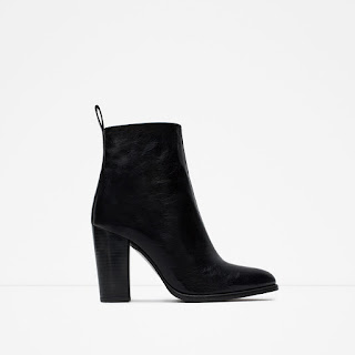 Zara High Heel Leather Ankle Boots With Pull Tab