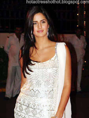 katrina kaif hot pics in white dress exposing her cleavage