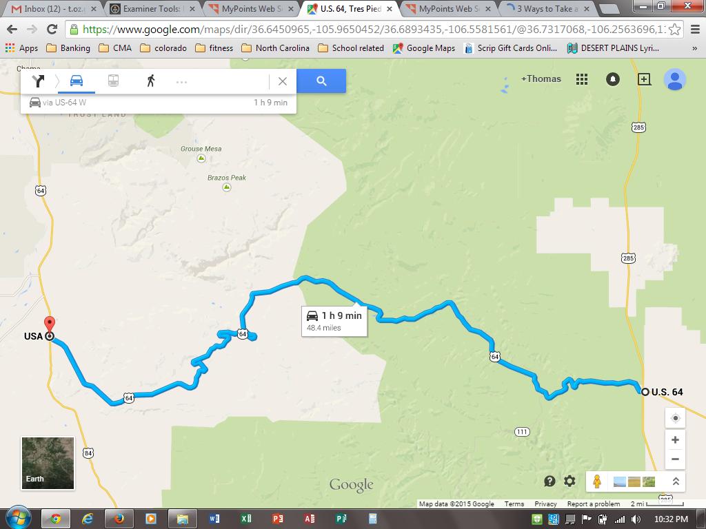 https://www.google.com/maps/dir/Tres+Piedras,+NM/Tierra+Amarilla,+NM+87551/@36.6860176,-106.5563251,10z/data=!3m1!4b1!4m14!4m13!1m5!1m1!1s0x8717a4ad062abcc9:0xf1ce24e7761909fb!2m2!1d-105.9672384!2d36.6469626!1m5!1m1!1s0x8717d7fe066b4d35:0xb6b5dcdd97d941e!2m2!1d-106.5497566!2d36.7002922!3e0