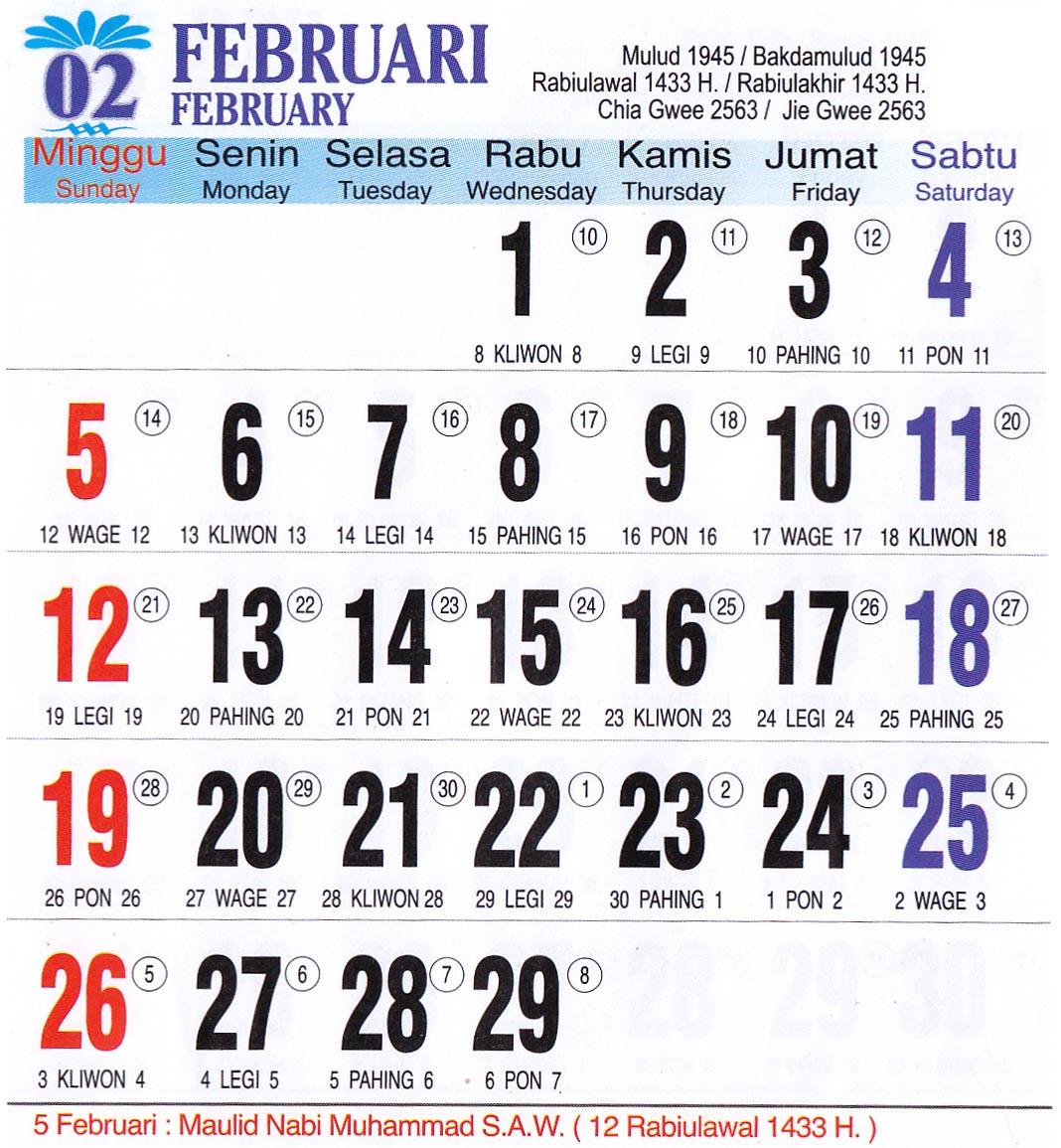 Kalender Tahun 2012 : Masehi, Kalender Islam, Kalender Jawa, Kalender ...