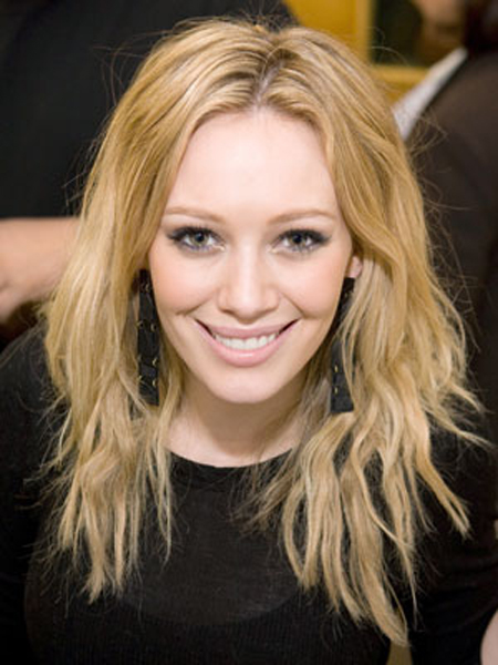 Hilary Duff's long, tousled hairstyle has tons of texture