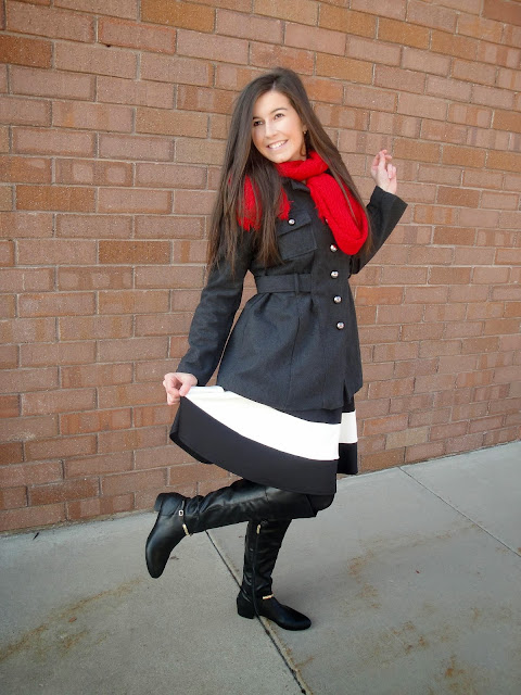 military chic, military jacket, military inspired, red scarf, downeast basics, downeast, deb shops, frill skirt, fit and flare skirt, fit and flare, black and white skirt, marc fisher boots, marc fisher, boots, booties, riding boots, pretty
