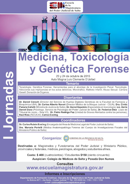 I Jornadas sobre Medicina, Toxicología y Genética Forense