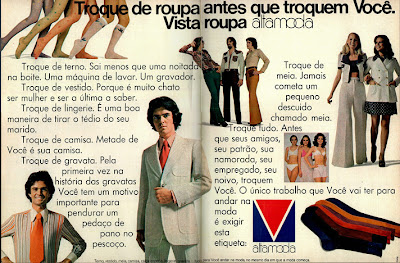 propaganda Roupa Altamoda - 1972. moda anos 70; propaganda anos 70; história da década de 70; reclames anos 70; brazil in the 70s; Oswaldo Hernandez