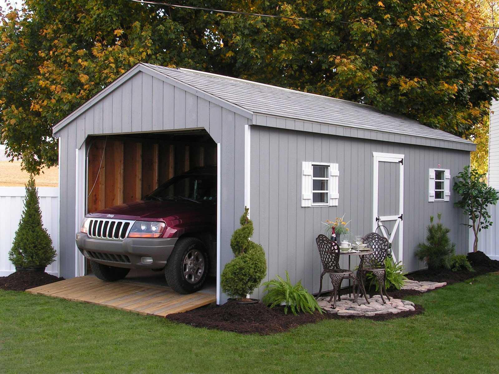 garage on market log company amish cabin builders the best kits of