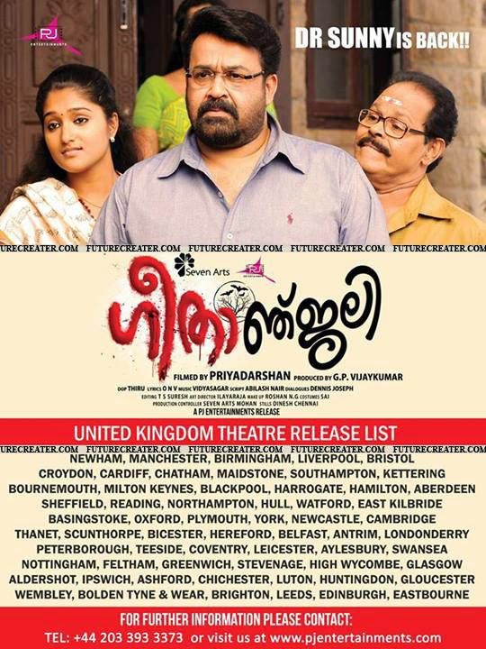 Mohanlal's Geethanjali releasing theater list