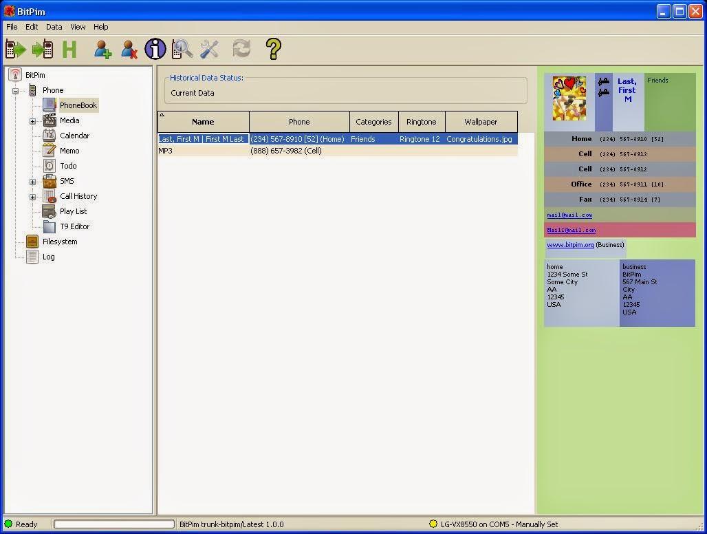 BitPim Screenshot