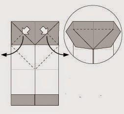 Bước 6: Từ vị trí mũi tên ta kéo lớp giấy ra và gấp xuống dưới. (xem video biết thêm chi tiết)