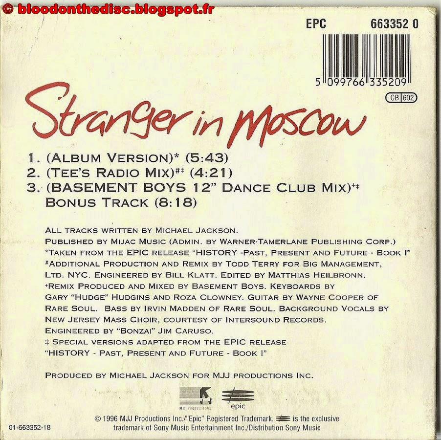Pochette Arrière Stranger In Moscow CD
