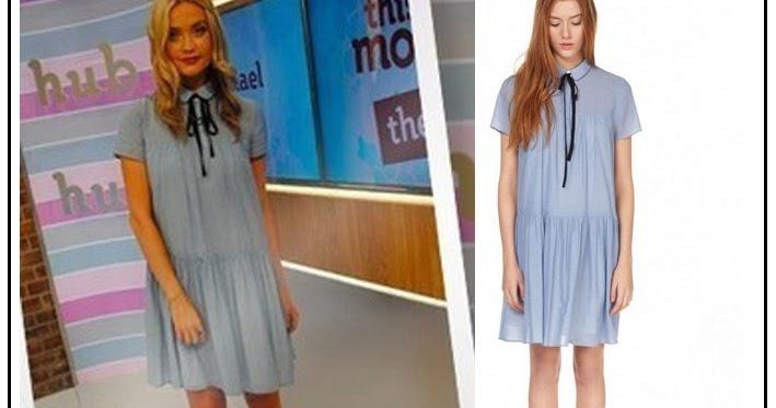 Laura Whitmore In Claudie Pierlot Romarin Light Denim Blue