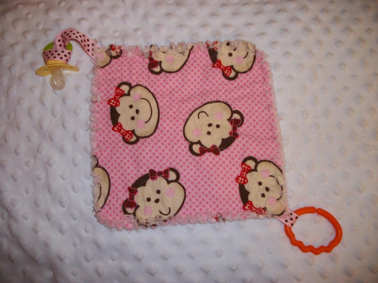 Deerecountry Quilts baby girl monkey burp cloths