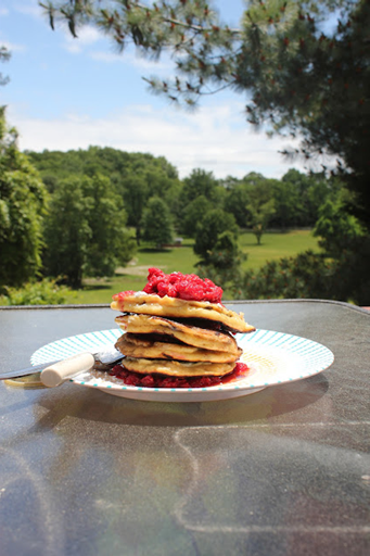 smashed raspberry chocolate chunk pancakes they seduced me the moment ...
