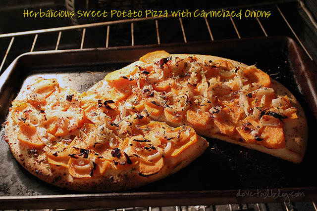 Herbalicious Sweet Potato Pizza with Carmelized Onions