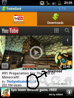 SC20120113 213126 Download youtube videos in android by tube god or Easytube