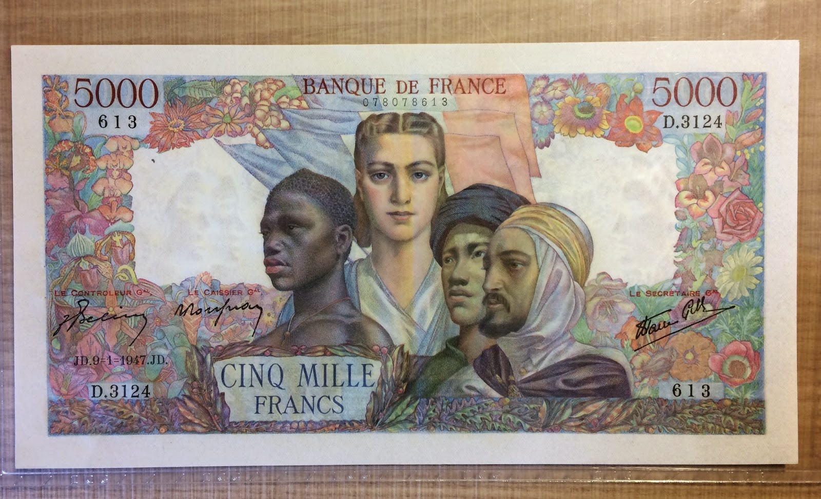 France 5000 Francs 1947, p103, About Uncirculated.