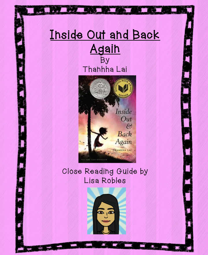 LisaTeachR's Classroom: Inside Out and Back Again: close reading guide