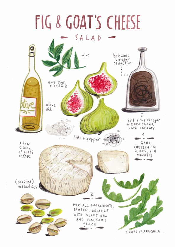 Fig & Goat Cheese Illustrated Recipe from Felicita Sala