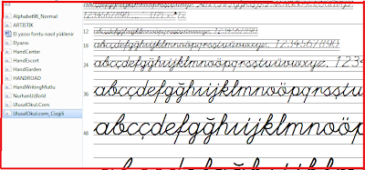 Bitişik eğik yazı bütün fontlar tanıtım ve indirilmesi