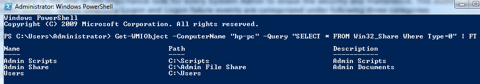 List only Network Share Folders (Not hidden) using Powershell script