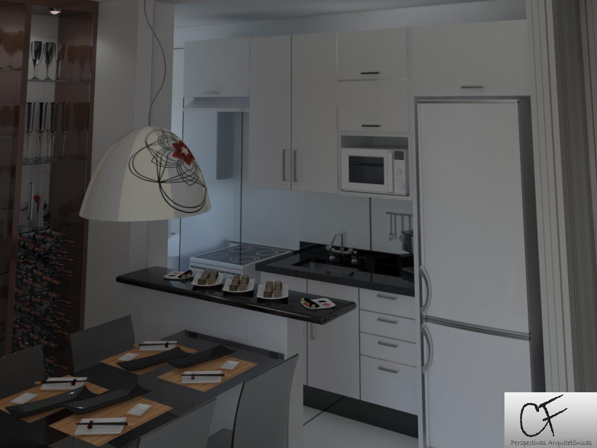 CF Perspectivas Arquitetônicas: Sala de Jantar/Cozinha Integradas #5C4A3B 1200 900
