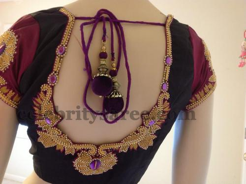 The latest Maggam work blouse designs with front pattern design is the prime choice of the teen girls. The blouse is given a lovely pattern with golden thread work and pearls attached to it. It is the best for plain sarees with similar borders.