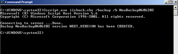 IIS6 backup command