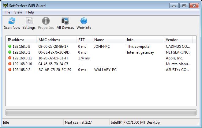 برنامج SoftPerfect WiFi Guard 1.0.4  Main_windows