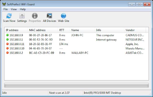برنامج مجانى لحماية وتأمين وحراسة شبكة الواى فاى الخاصة بك لنظام ويندوز ولينوكس وماك SoftPerfect WiFi Guard free 1.0.3