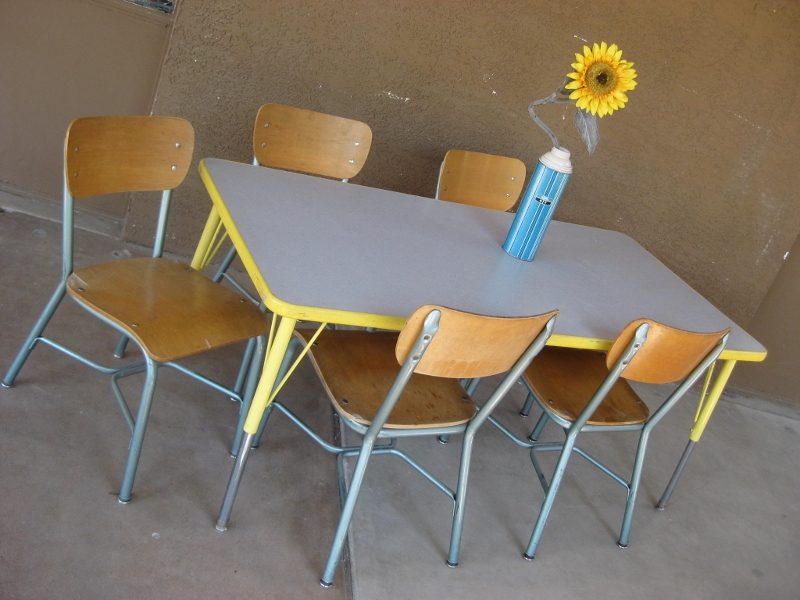 ~*~Old School Table $125,wood School Chairs $25