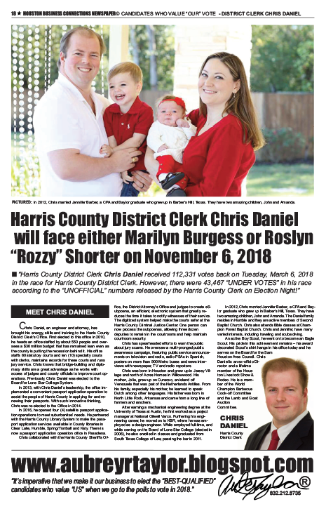 PAGE 20 - HOUSTON BUSINESS CONNECTIONS NEWSPAPER© RUNOFF ELECTION - PART 1 of 3