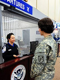 Member of U.S. Military at TSAprecheck desk.