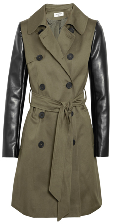 outnet helene berman faux leather sleeved twill trench coat