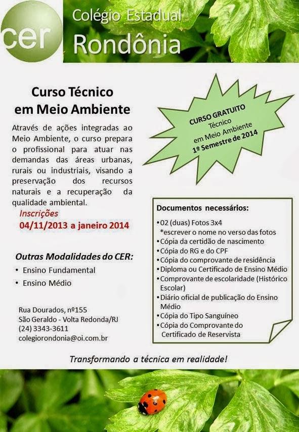 JUVENTUDE DE BARRA MANSA RJ Curso Técnico em Meio Ambiente no C E Rond u00f4nia em Volta Redonda RJ -> Curso Tecnico Em Decoração De Ambientes