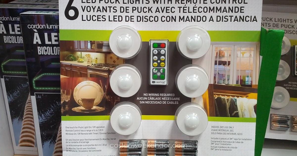 capstone led puck lights 6 pack costco weekender. Black Bedroom Furniture Sets. Home Design Ideas