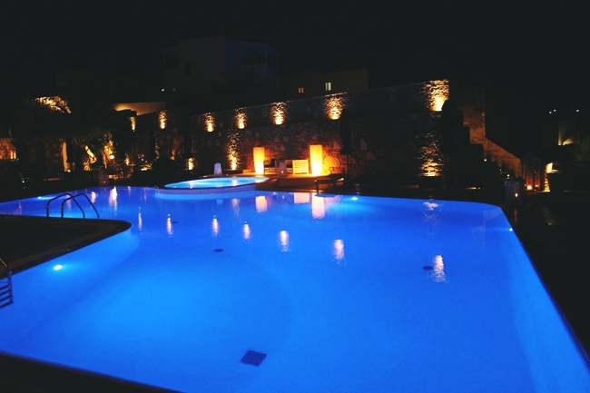 Liostasi hotel & spa pool at night.Best hotels in Ios.Luxury hotels in Ios.Where to stay in Ios.Luksuzni hoteli na Ios ostrvu.