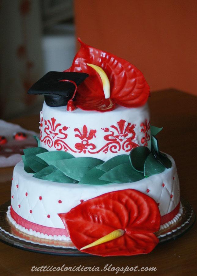 Torta con anthurium per una laurea for Decorazioni per torte di laurea