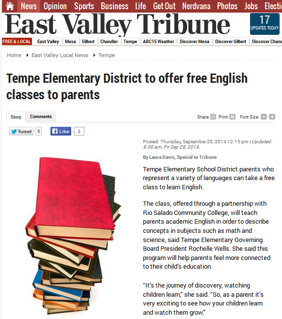 snapshot of East Valley Tribune article.