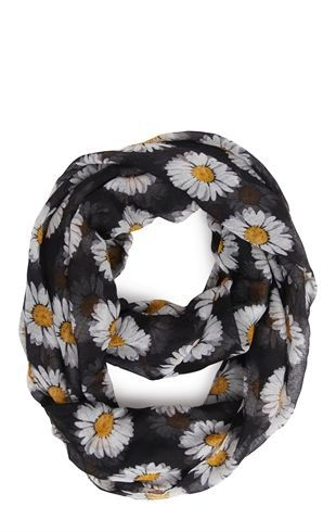 Woven Scarf with Daisy Print