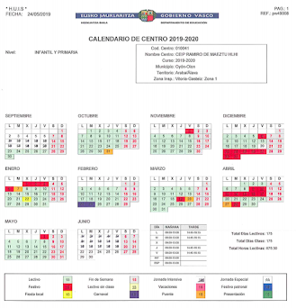 2019-20 IKASTURTEKO EGUTEGIA / CALENDARIO ESCOLAR 2019-20