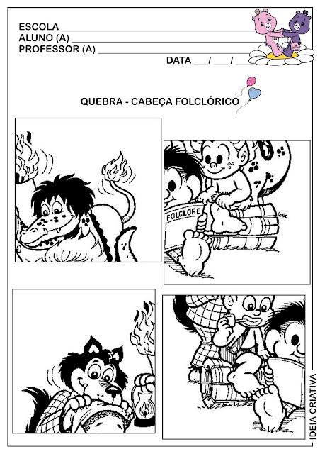 Atividade Quebra-cabeças Personagens do Folclore Brasileiro