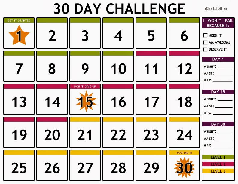 Here is my gift to you.... a free 30 day challenge calendar!