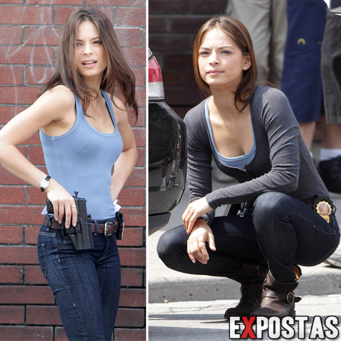 Kristin Kreuk filmando cenas de 'Beauty and the Beast' em Toronto - 16 de Agosto de 2012