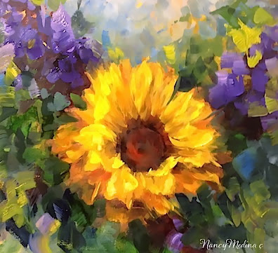 palette knife painters sold step by step sunflower