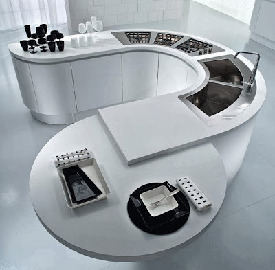 Diseño de moderna isla de cocina ovalada