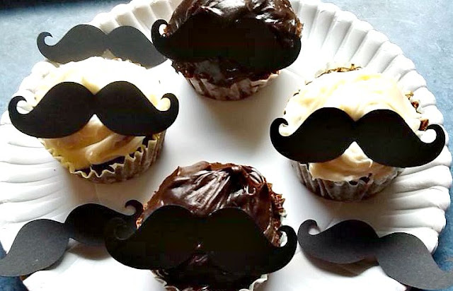 Mustache Chocolate Chip and Dr. Pepper Cupcakes.